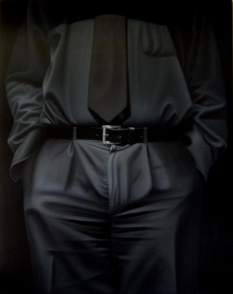 Selbstbildnis in schwarz, Oel auf Leinwand,